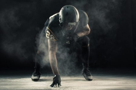 African American football player.