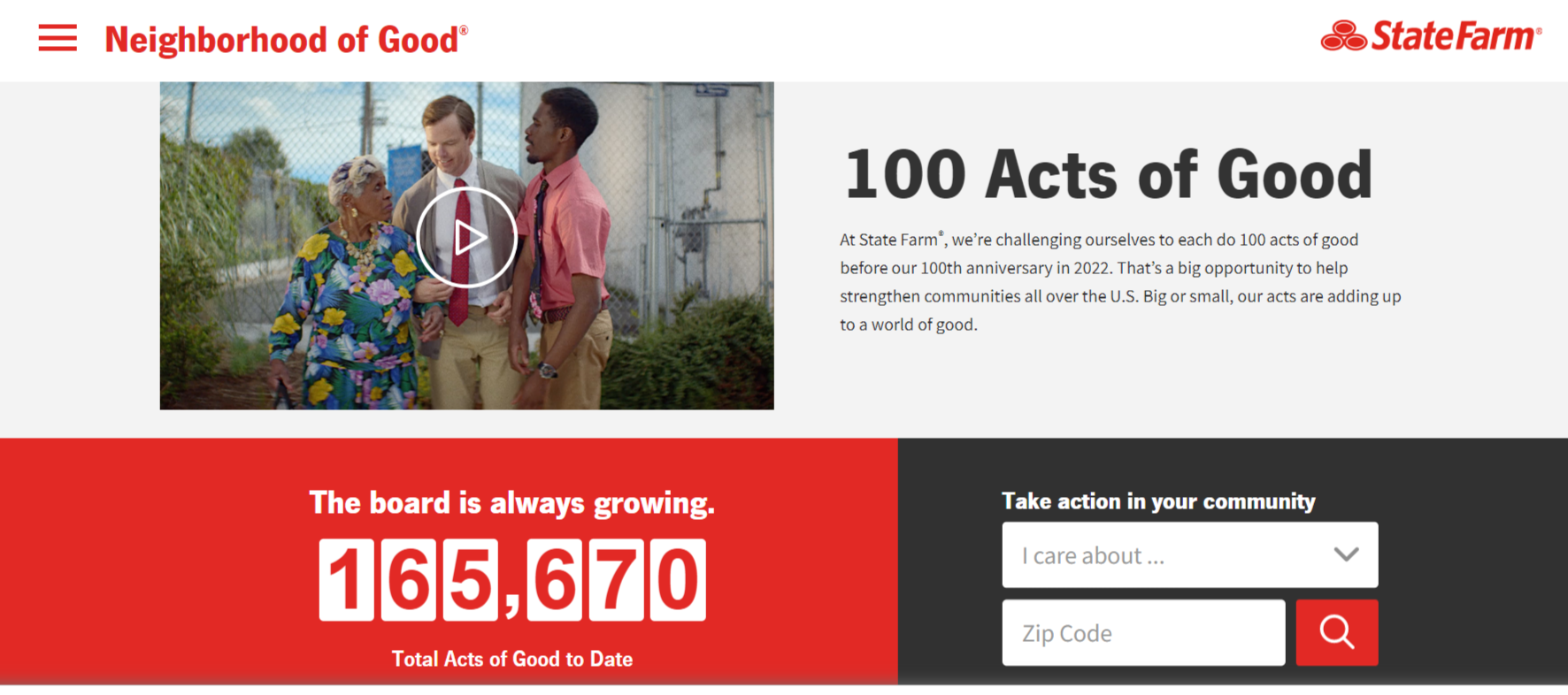 State Farm 100 Acts Program/Charity