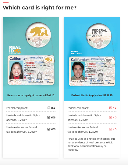 California REAL ID examples