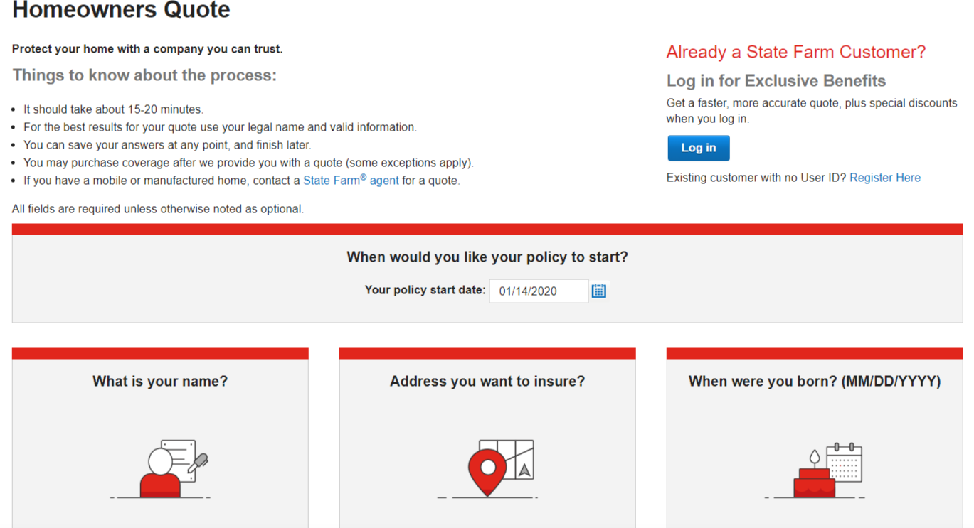 State Farm Home Insurance Online Quote homeowner and home information