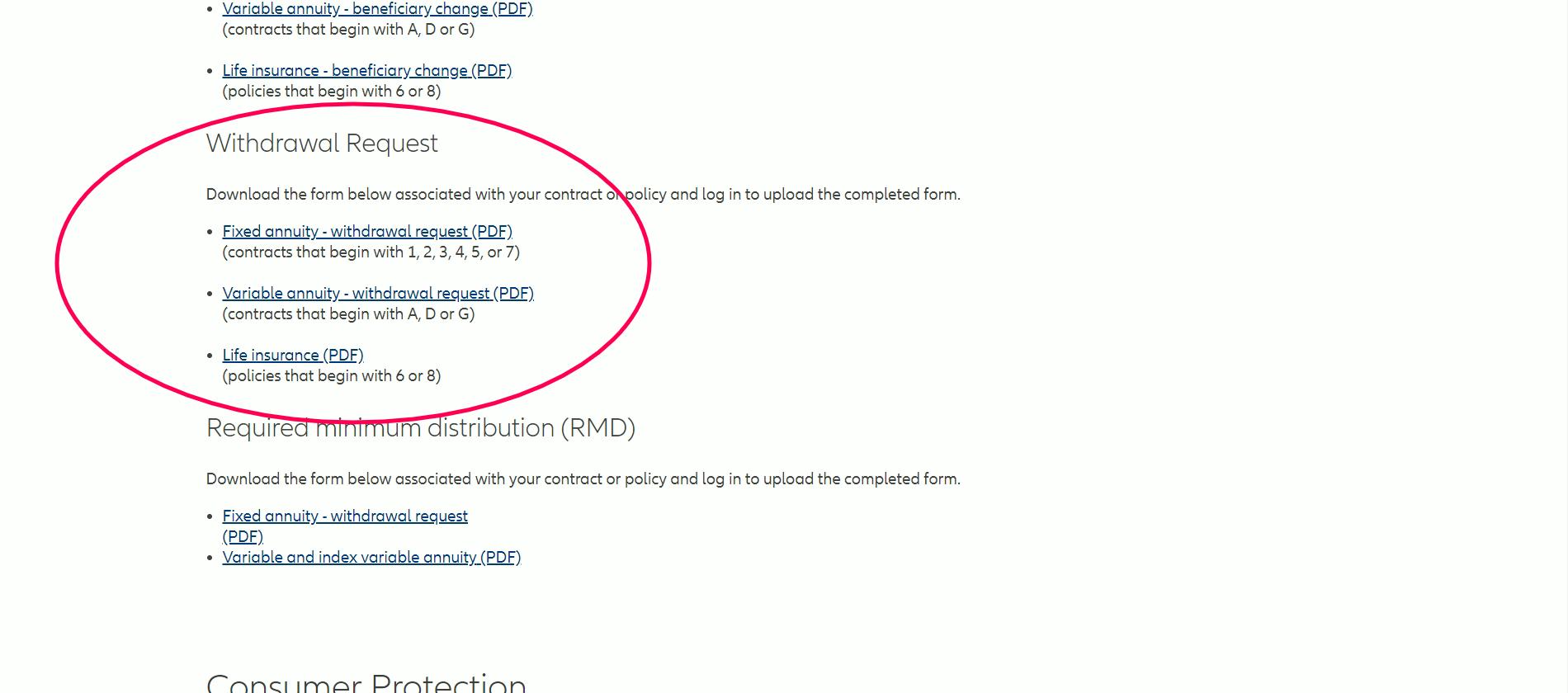 Allianz Website Withdrawal Request Highlight