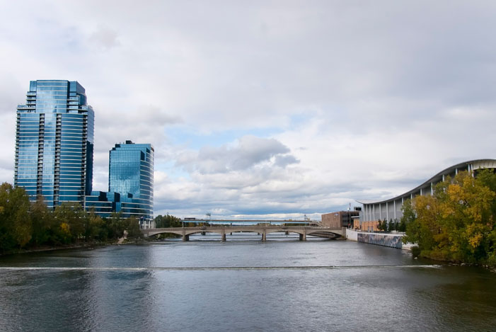 Grand Rapids Michigan and the Grand River with beautiful glass sky scrapers