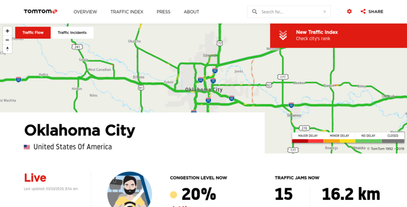 Screenshot of TomTom Oklahoma City
