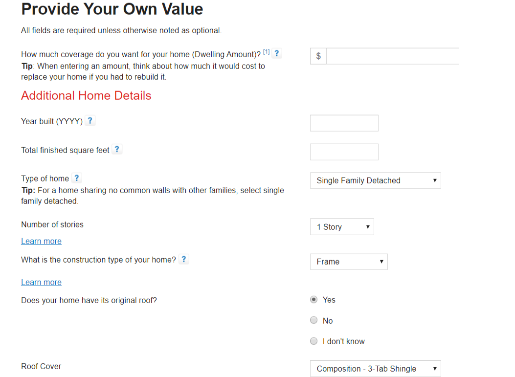 State Farm Online Quote provide your own value