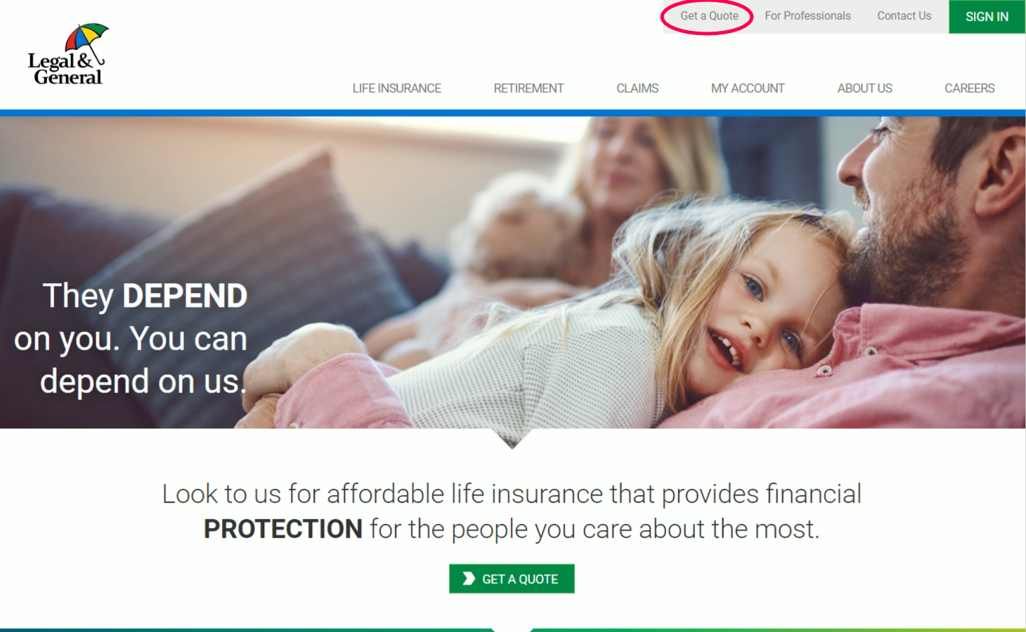 Legal and General Home Page Get a Quote Highlight