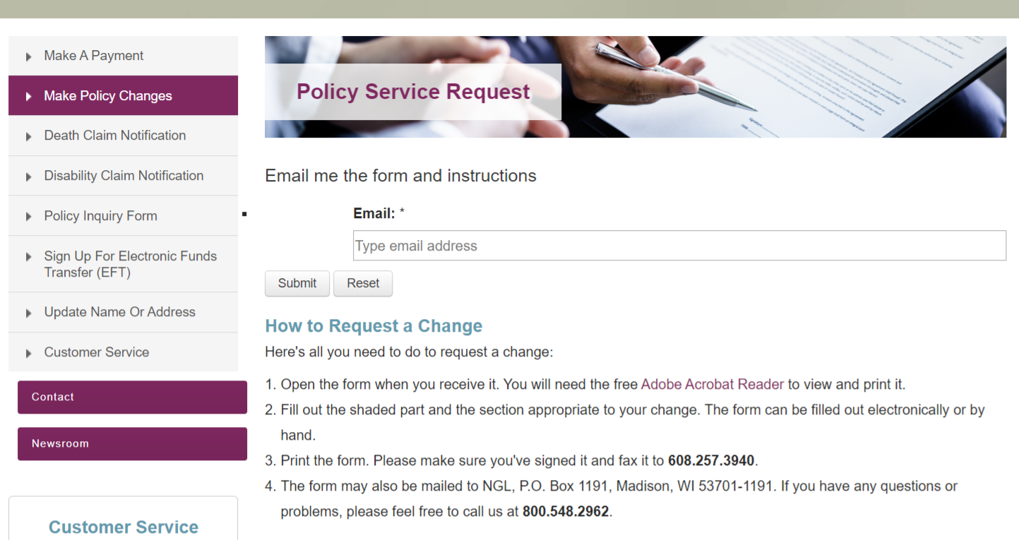 NGL Policy Service Request Page