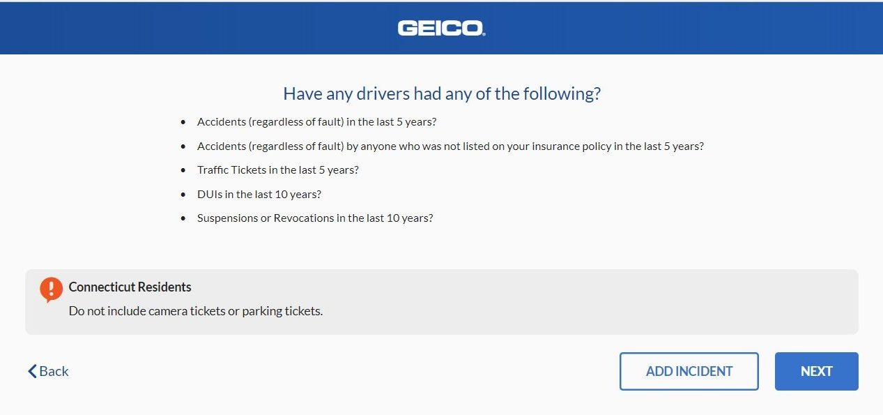 geico quote previous accidents tickets
