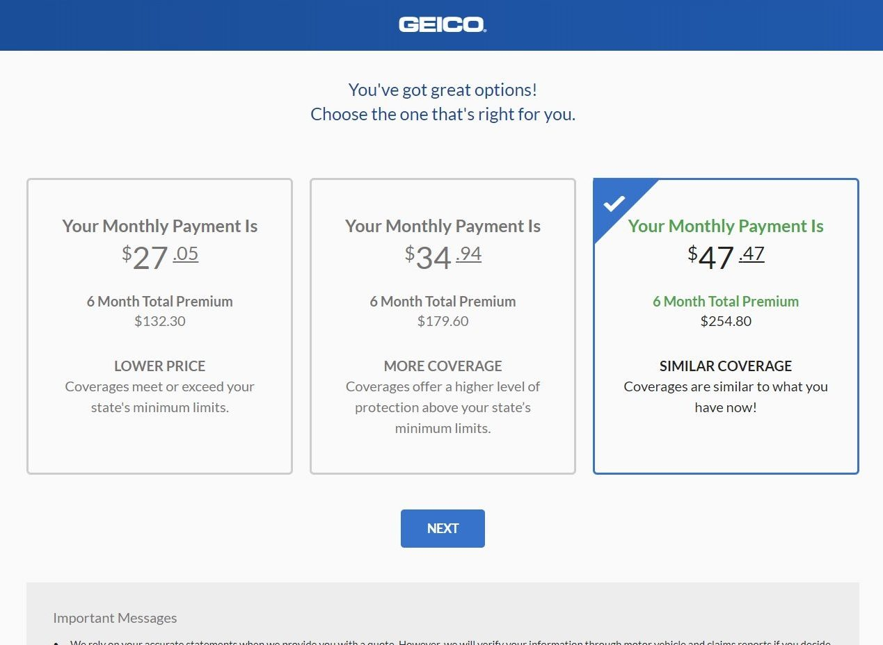 geico quote premium options