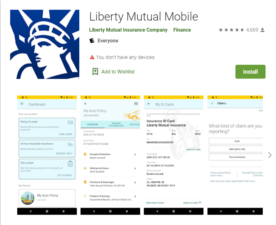 Liberty Mutual Mobile App Layout Google Play