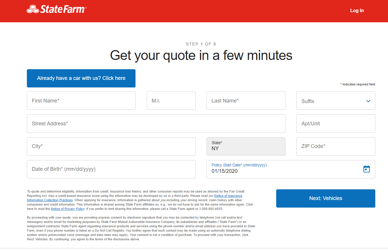 State Farm website quote screen showing where to enter personal information