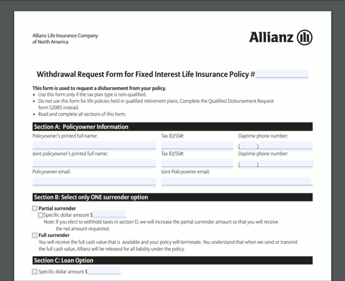 Allianz Withdrawal Request Form