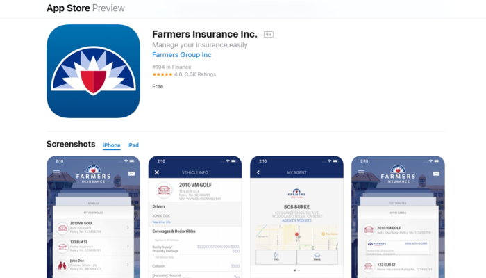 A screenshot of Farmer's App on iOS store