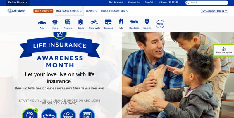 Allstate Website Homepage Insurance Menu Dropped Down