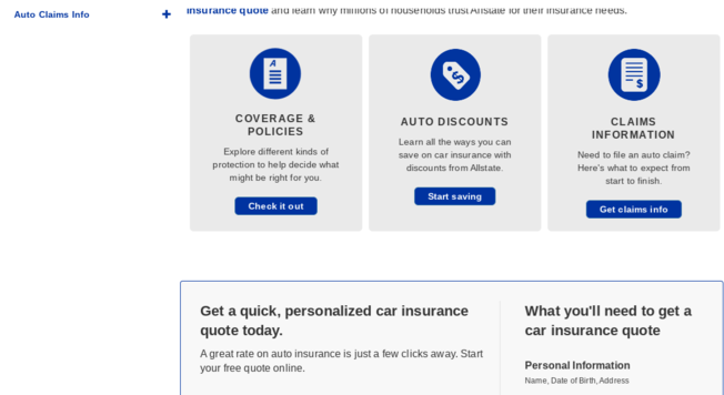 Allstate Insurance Page Scrolled Down