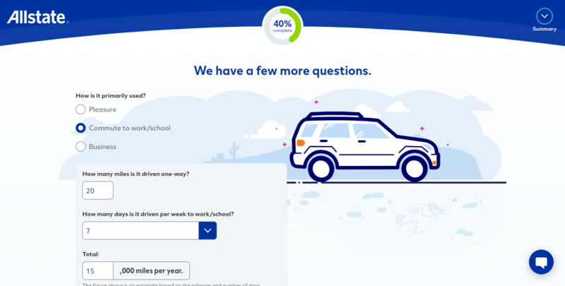 Allstate Get a Quote Vehicle Mileage