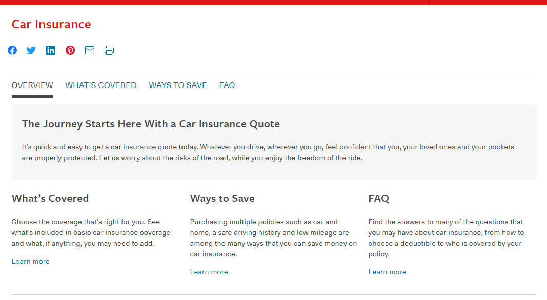 Travelers Car Insurance Coverage Start Page