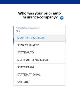 A screenshot of the prior insurance page on the Farmer's website quote process