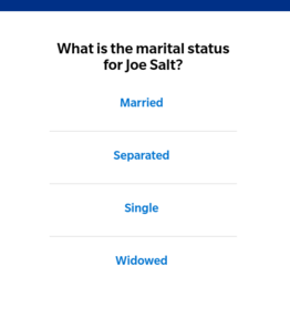 A screenshot of the marital status page on the quote process for the Farmer's website