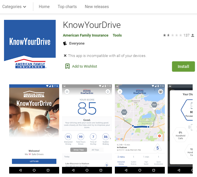 American Family KnowYourDrive Google Play
