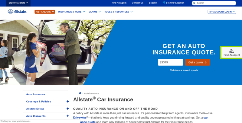 Allstate Insurance Page Top