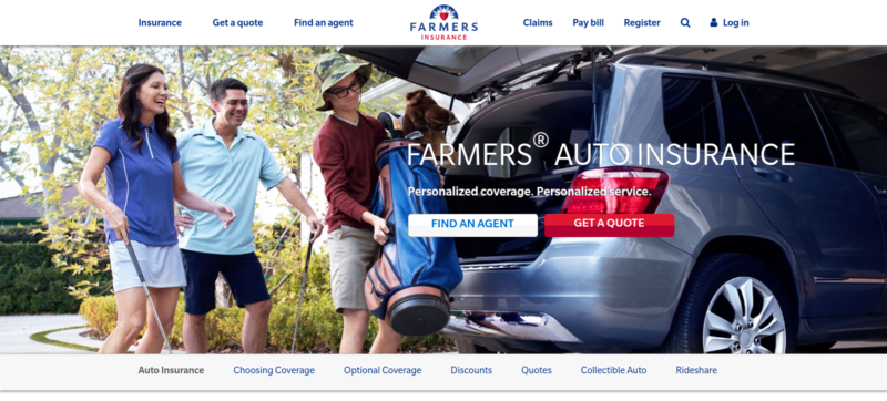 A screenshot of the auto insurance homepage on Farmer's website