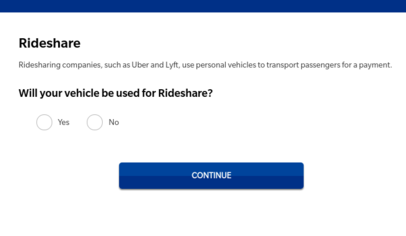 A screenshot of the rideshare admission page of the Farmer's quote process