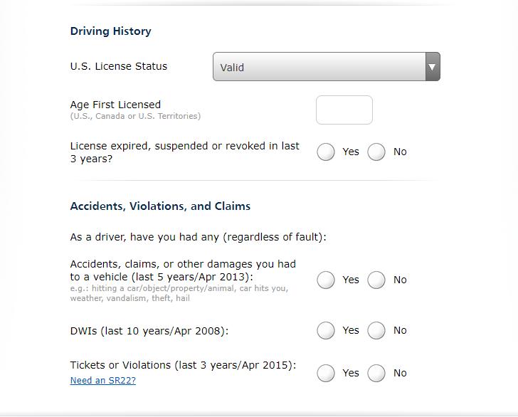 Progressive Quote Driver History