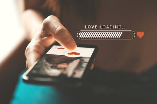 smartphone, love loading, loading bar, holding phone, black cell phone