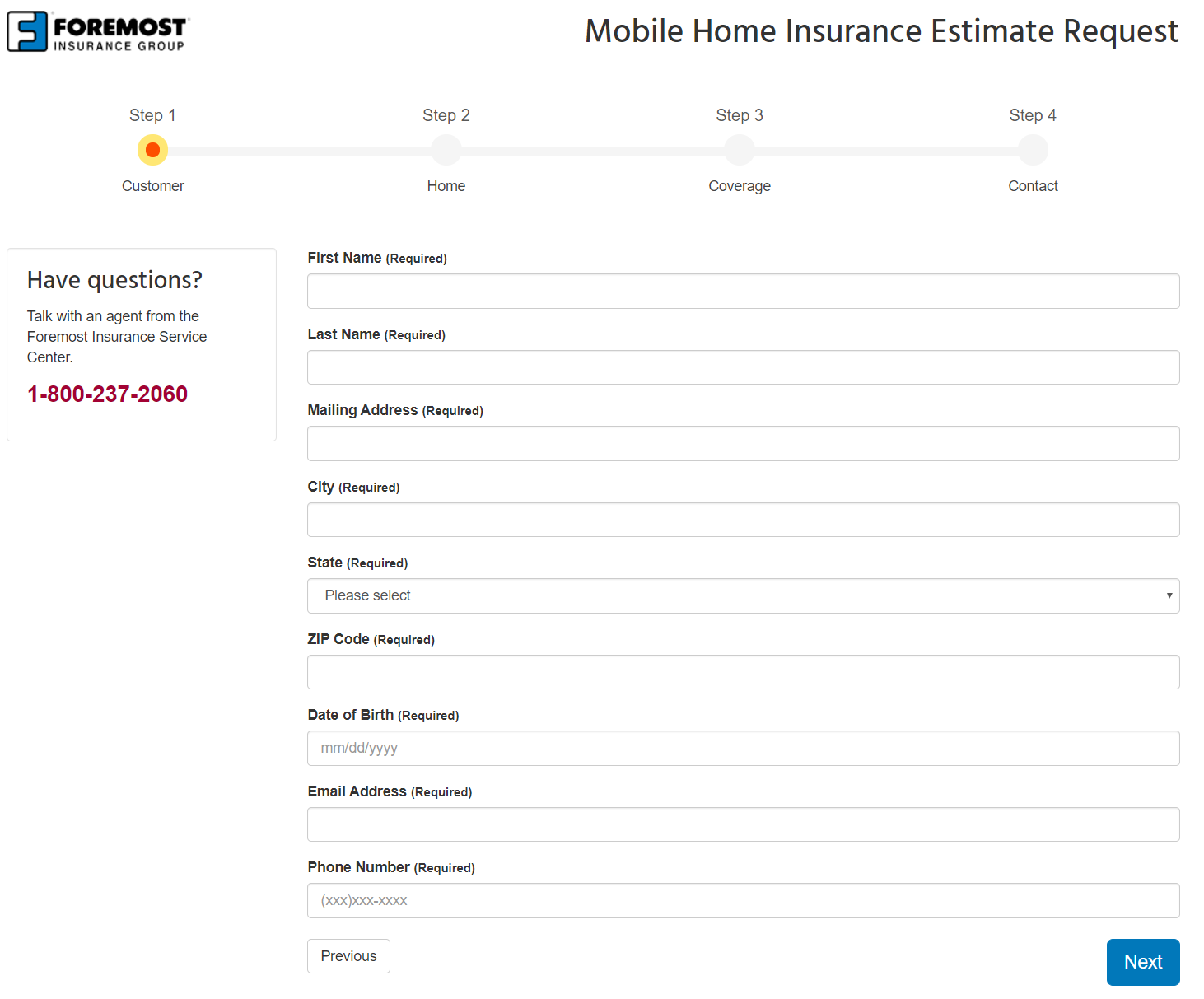 Foremost Insurance Group mobile home insurance quote - personal information screen