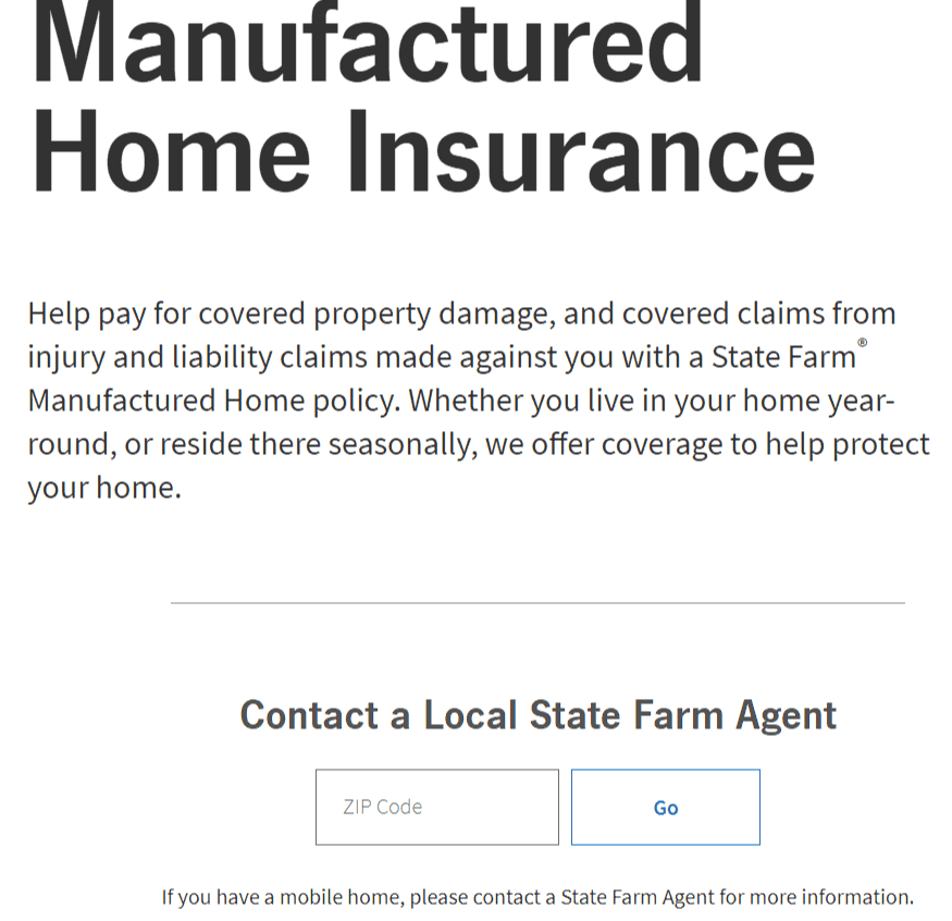 State Farm Manufactured Home Quote
