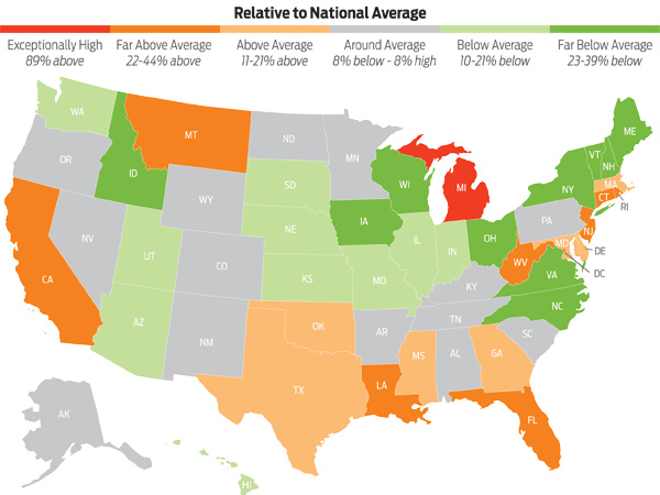 Compare Car Insurance Rates By State Averages