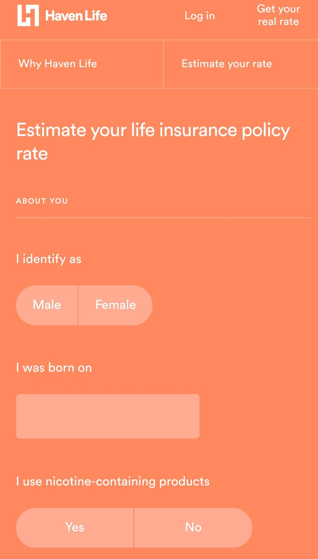 Haven Life mobile quote tool