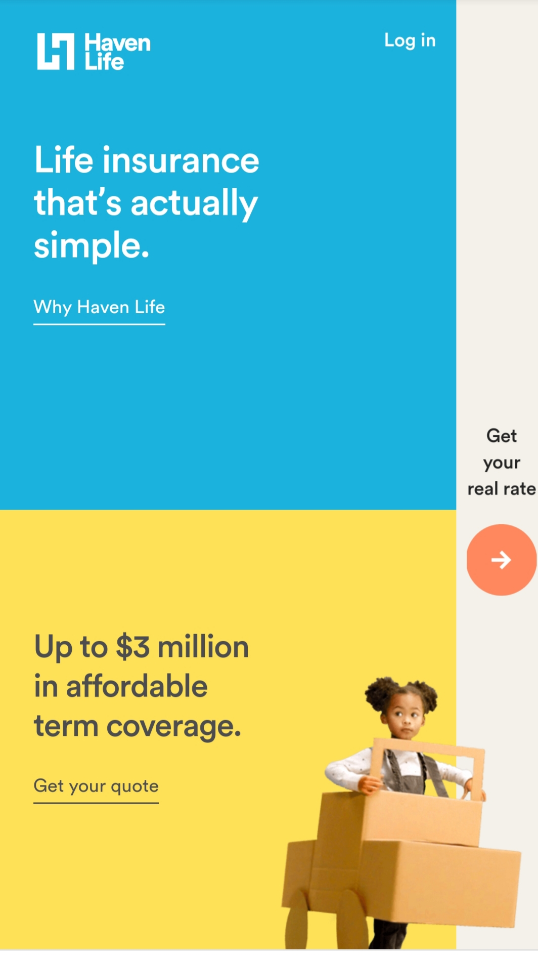 Haven Life mobile site