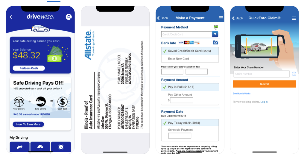Allstate mobile app features