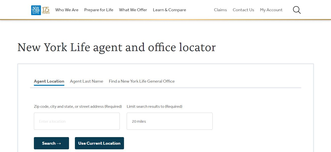 New York Life's agent locator tool.