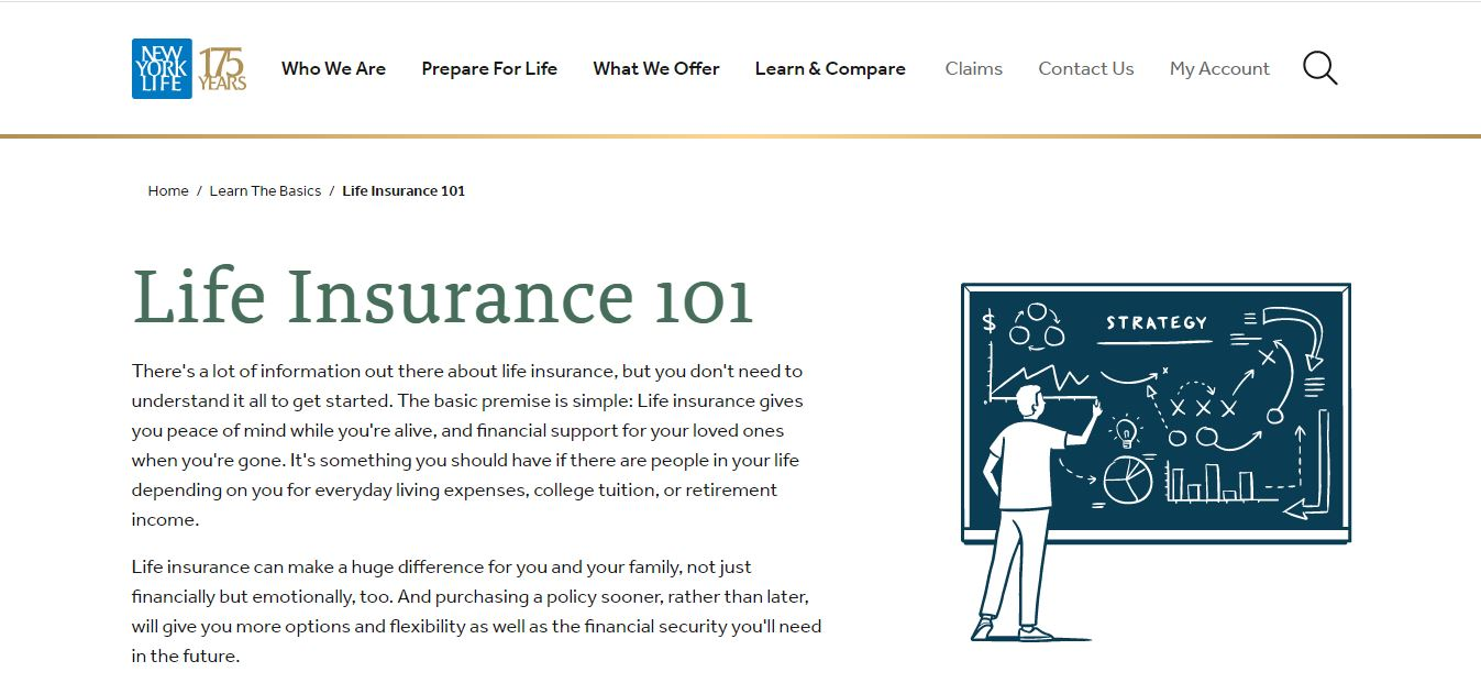 New York Life's life insurance guide web page