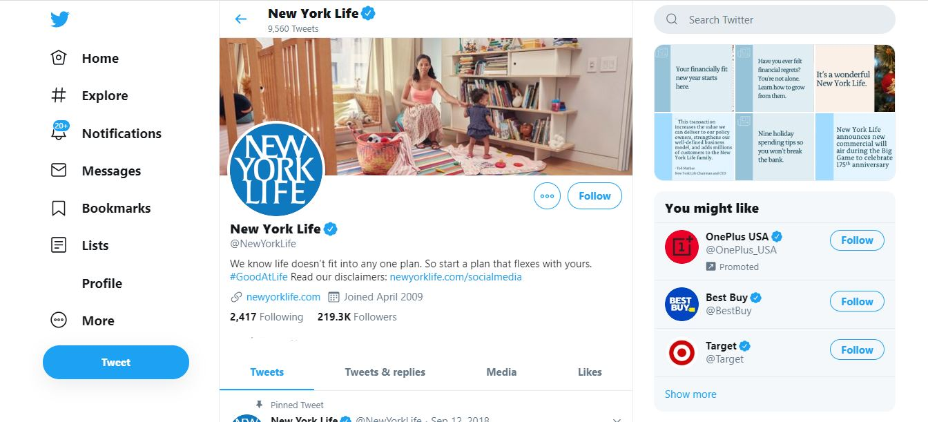 New York Life's Twitter page