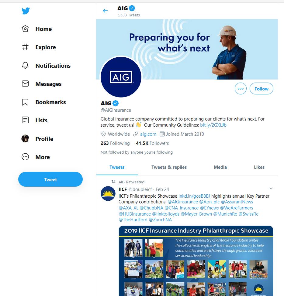AIG Twitter feed