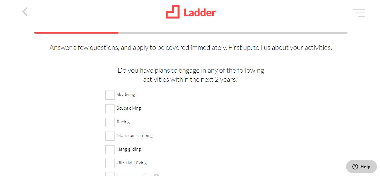Ladder website online quote, step 4.