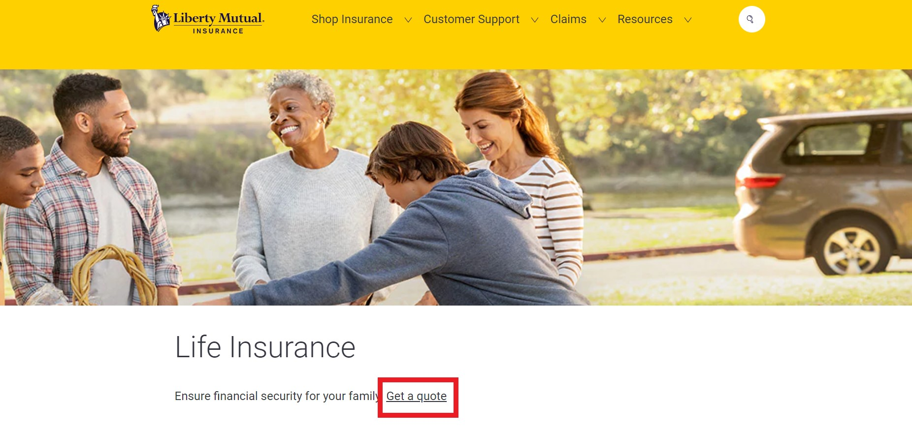 Liberty Mutual website Get a quote link