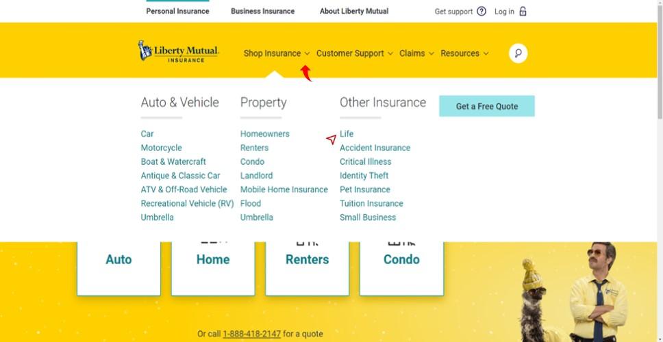 Liberty Mutual website shop insurance drop down menu