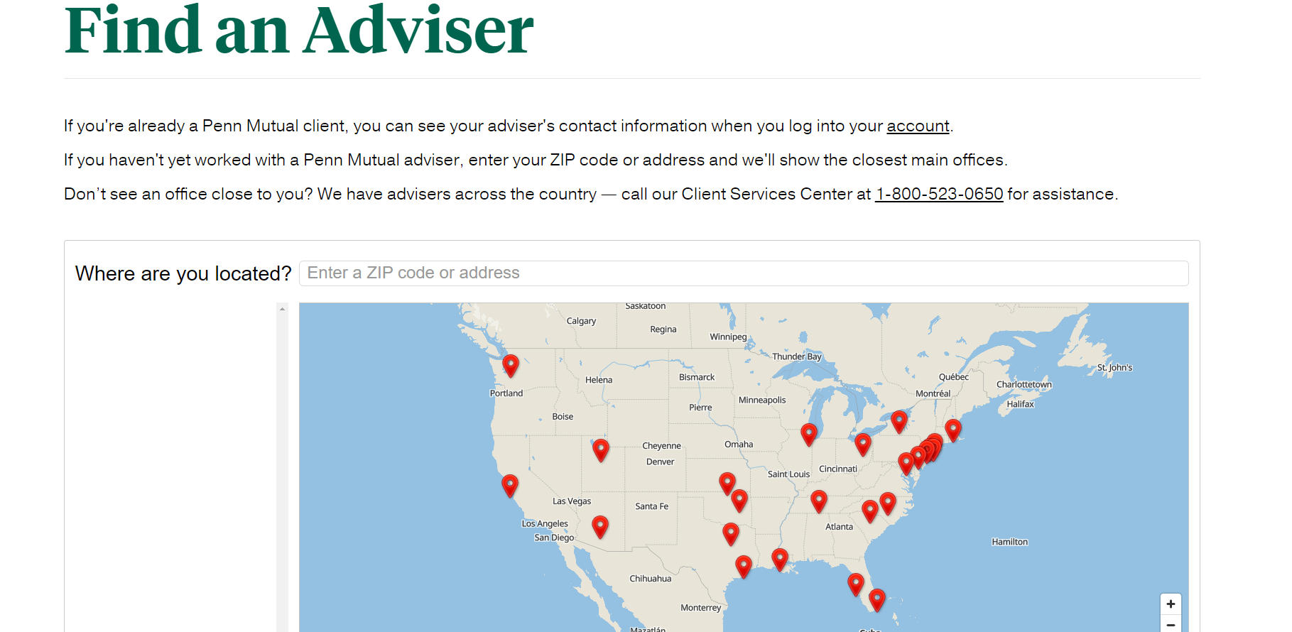 Penn Mutual website Find an advisor page