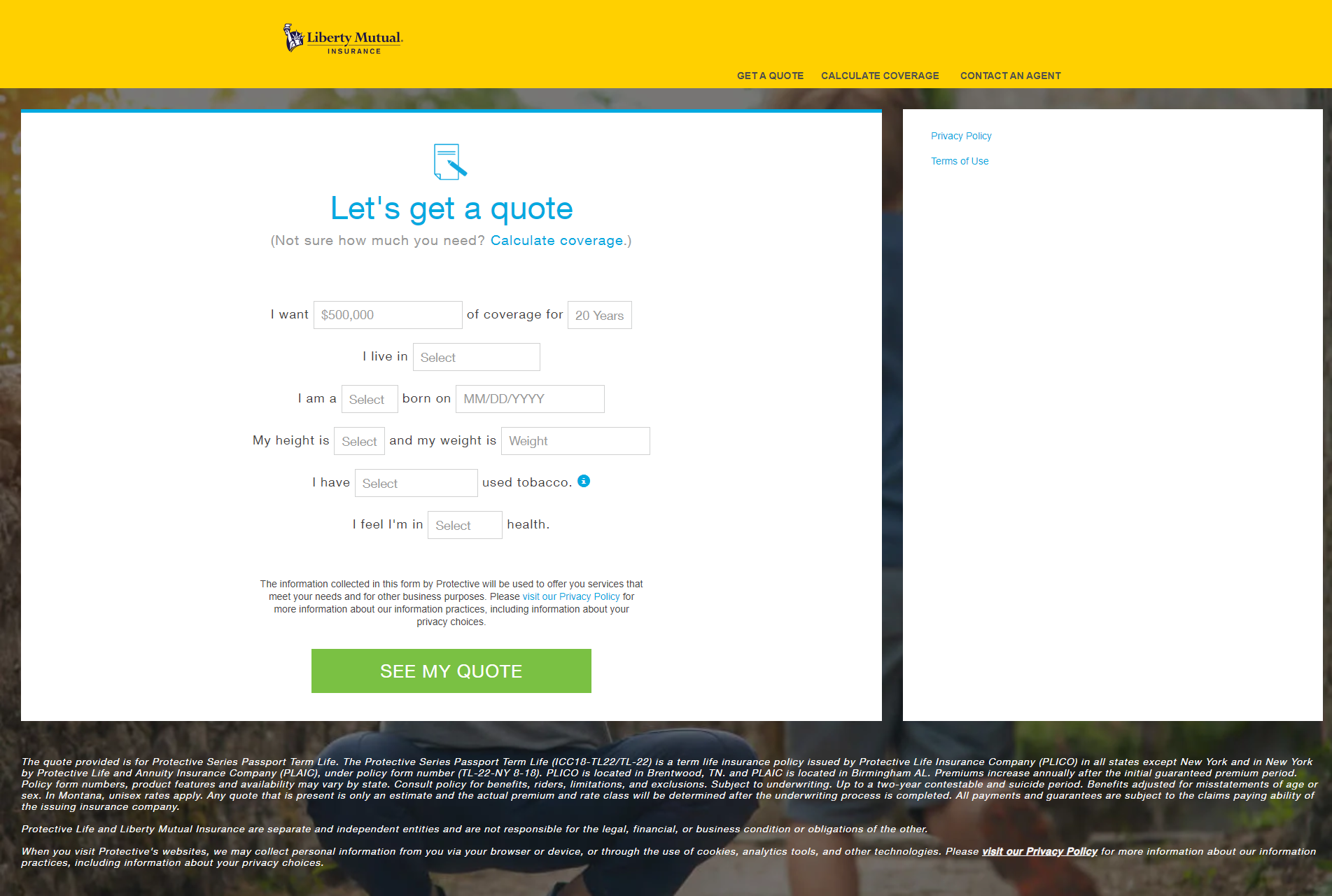 Liberty Mutual website Let's Get a Quote screen