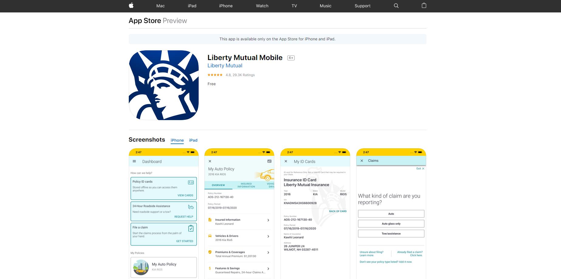 Liberty Mutual app screenshots in Apple Store