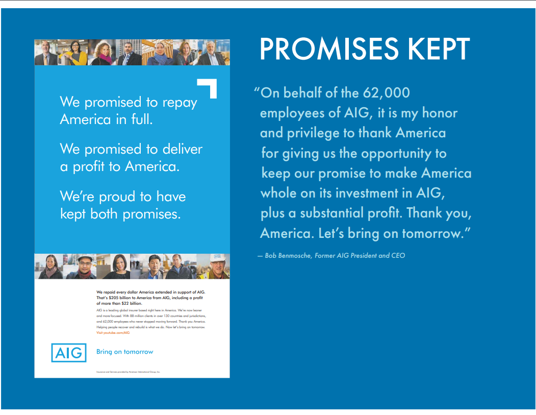 Promises Kept thank you ad to America