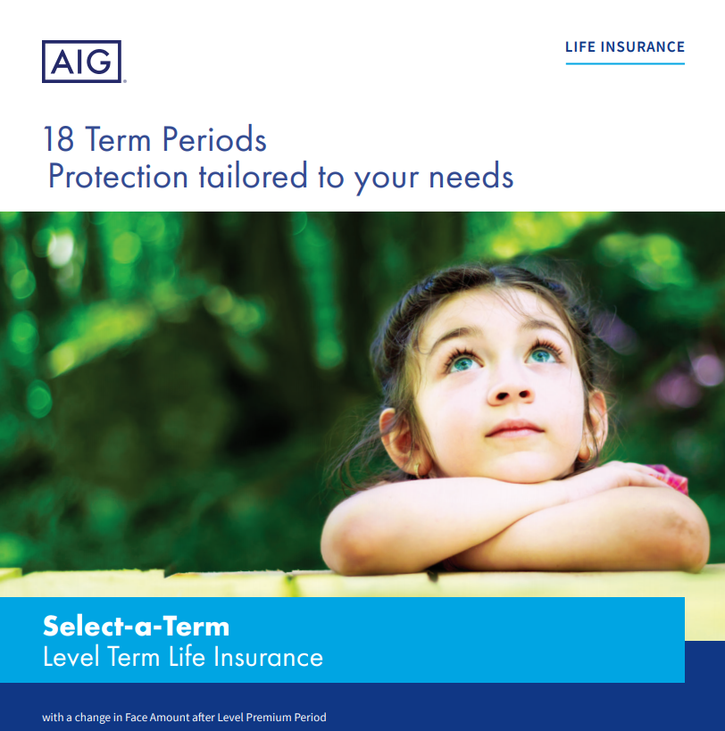 Screenshot of Select-a-term policy on AIG website