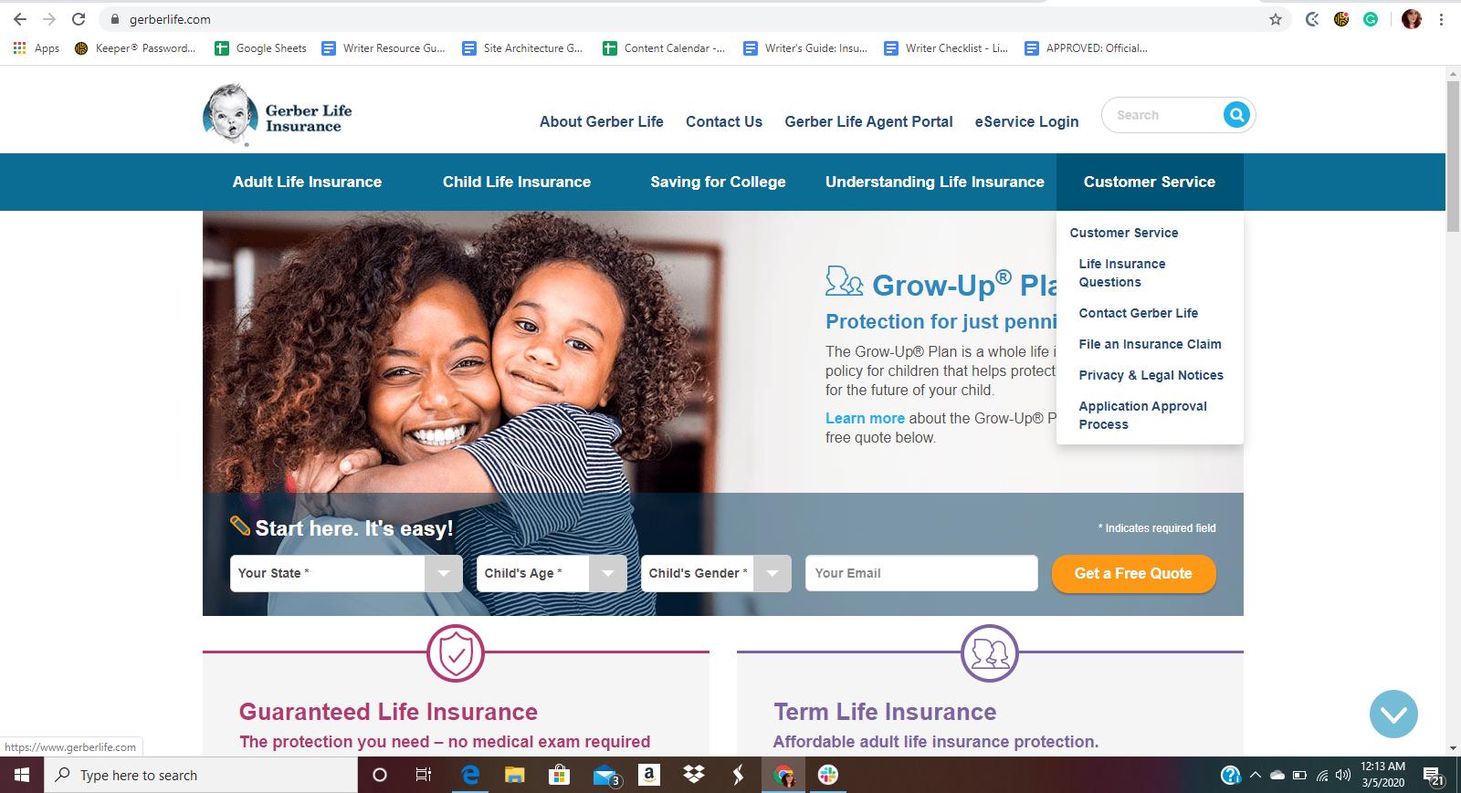 Gerber Life Website Home Page Customer Service Menu Dropdown