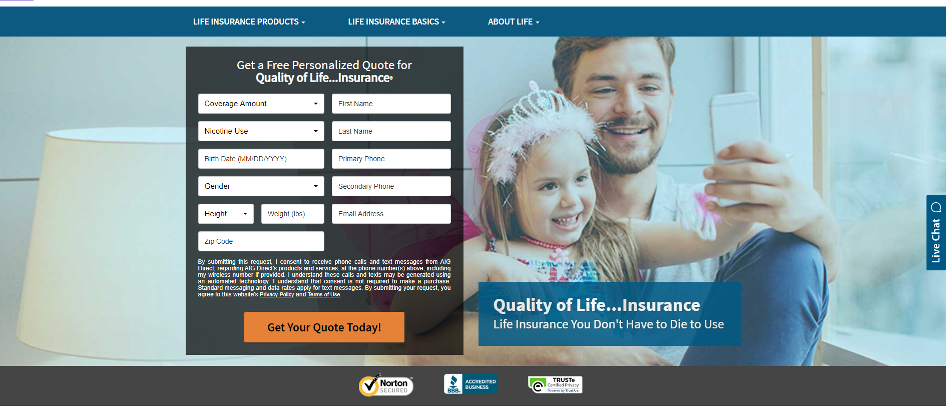 AIG website get a quote quality of life