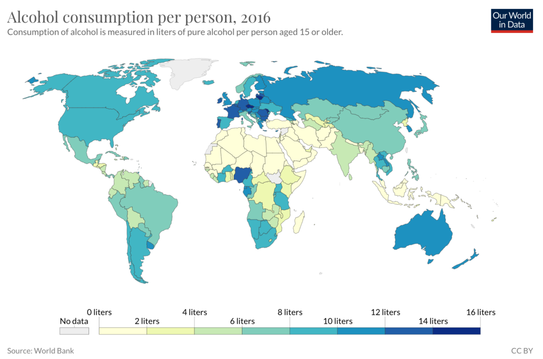 Map of Our World in Data – Alcohol Consumption
