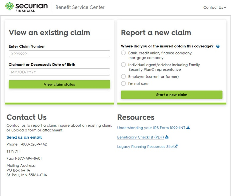 Minnesota Life (Securian Financial) Website Claims Page
